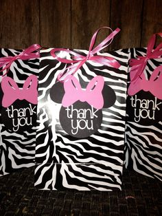 Minnie Mouse Party Favors | Minnie Mouse Party Favor Bags Pink and Zebra by PurpleZebraPaperCo