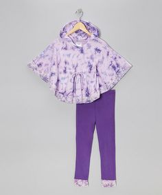 Take a look at this Eggplant Tie-Dye Cape-Sleeve Tunic & Leggings - Toddler & Girls by Freckles + Kitty on #zulily today!