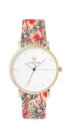 Tissu flamingos flamant rose Made in France Laruze Montres bracelets Interchangeables Mode Imprimés Animalier Or Argent Or rose  Paris Auvergne