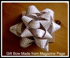 Step-by-step instructions to make a gift bow from a magazine page. Great way to both upcycle and get the kids involved in wrapping!
