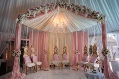 Pink and Ivory mandap