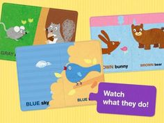 Matching Puzzle Cards: Colors for iPad - a set of animated puzzles (4 scenes, 2 pieces each puzzle) for learning color names, a 'colors' sing-along plus a simple mini-game. Original Appysmarts score: 88/100