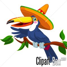Buy Toucan with sombrero by Dazdraperma on GraphicRiver. Illustration of toucan with sombrero sitting on tree branch Vector Clipart, Vector Free, Vectors, South American Rainforest, Inkscape Tutorials, Latino Art, 2nd Birthday Parties, Cartoon Art, Tree Branches