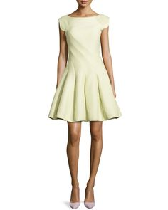 Cap-Sleeve Fit & Flare Dress, Size: 8, Green - Halston Heritage
