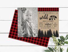 Buck Wild One Lumberjack Photo Birthday Invitation antlers Drake's Birthday, Outdoor Birthday, Baby Boy 1st Birthday, 1st Birthday Parties, Birthday Ideas, Picture Invitations, Photo Birthday Invitations, Lumberjack Birthday Party, Printable Invitations