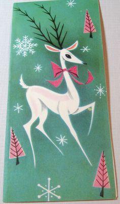 Vtg Christmas Card 1940s  1950's