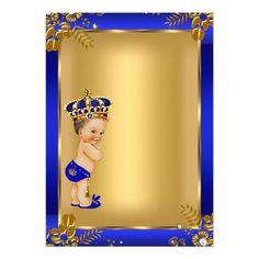 Invitación Brunette floral azul del oro de la fiesta de Prince Birthday Theme, Baby Birthday, Baby Shower Diapers, Baby Boy Shower, Bday Invitation Card, Mickey Mouse Baby Shower, Baby Shower Checklist, Baby Shower Templates, Baby Boy Cards