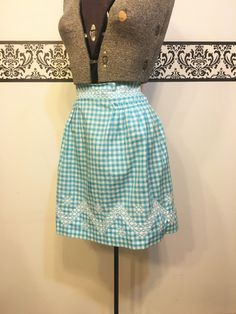 1950's Blue and White Gingham Apron, Vintage Blue Gingham Apron, Vintage Blue…
