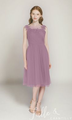 2f4b0153200 Short Tulle Bridesmaid Dress with Illusion Lace Neck TBQP300 click for 40+  colors Glitter Roses