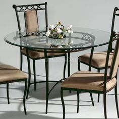 Wrought Iron Round Dining Table & kitchen dining sets glass | glass dinette set comes complete with ...
