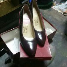 Wine colored ferragamos Worn once, Gorgeous Ferragamo Low heels Ferragamo Shoes Heels