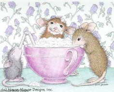 """Monica, Maxwell and Mudpie from House-Mouse Designs® featured on the The Daily Squeek® for 10/11/2013. Click on the image to see it on a bunch of really """"Mice"""" products."""