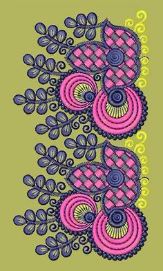 Border Embroidery Designs, Folk Embroidery, Embroidery Patterns, Kurti Patterns, Textile Patterns, Textiles, Patch Design, Blouse Designs, Stitches