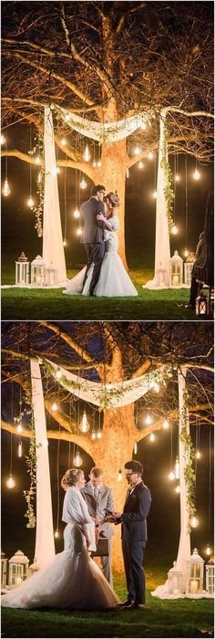 Top 20 Wedding Tree Backdrops and Arches - K. Monique Top 20 Wedding Tree Backdrops and Arches lit tree as wedding ceremony backdrop Tree Wedding, Wedding Night, Wedding Reception, Wedding Table, Outdoor Night Wedding, Outdoor Weddings, Reception Ideas, Budget Wedding, Wedding Ceremony Decorations