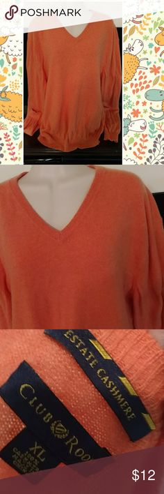 Cashmere sweater sz xl or 1x Gorgeous orange 100 percent cashmere sweater. Tag says xl. Not sure if men or women but fits womans xl or 1x beautifully. Great for cooler spring days and nights. Tops