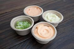 Condiments with fries? Choose from spicy sriracha, pesto mayo, ginger scallion & garlic relish, chipolte sourcream.
