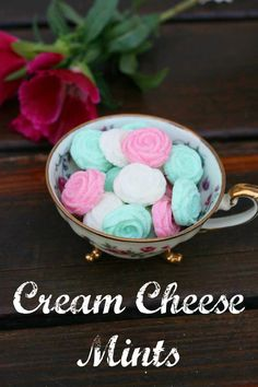 Cream cheese mints. These can be customized, using different colors and shapes from a mint mold. A HUGE batch costs like $4. #cookies_recipes,#cookies_recipes_easy,#cookies_and_cream_cake,#cookies_and_cream_cookies,#cookies_and_cream_cheesecake,#cookies