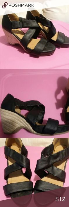 (3 for $12) Nine west wedge sandals Slip on wedge sandals worn only once Nine West Shoes Wedges