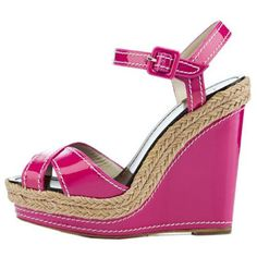 Christian Louboutin Almeria Wedges 120mm Patent Leather Pink
