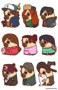 Puglie Gravity Falls Mini Series!Prints available in the Puglie Shop                                                                                                                                                                                 Más