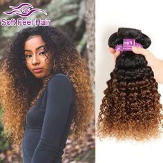 Ombre Brazilian Kinky Curly Virgin Hair 3 Bundles T1B/30 Dark Brown Ombre Curly Hair Weave Two Tone Ombre Human Hair Extensions