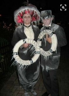 Inspiration & Accessories: Make Titanic Opera Costume for Couples – Halloween Costumes Costume Halloween, Couples Halloween, Halloween 2018, Holidays Halloween, Fall Halloween, Halloween Decorations, 4 People Halloween Costumes, Unique Couple Halloween Costumes, Funny Couple Costumes
