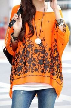 Color Love! Tangerine Orange and Black Stylish Scoop Neck Floral Print Batwing Sleeve Women's Blouse