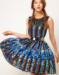 asos holographic skate dress and mesmeric belt