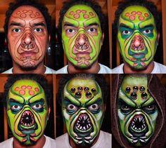 Cute Halloween Makeup, Halloween Men, Halloween Costumes, Facepaint Halloween, Face Painting Designs, Maquillage Halloween, Sfx Makeup, Step By Step Painting, Crazy Makeup