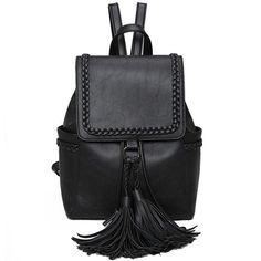 Vintage Brown PU Flap Tassels Braid Draw String Weave School Backpack