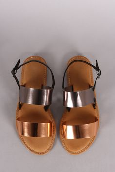 Metallic Two Tone Double Band Flat Sandal