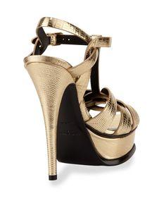 7d9c3a269c0 Saint Lauret - Tribute Metallic Leather Platform Sandal Saint Laurent  Shoes
