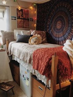 So perfect for UVM. Bed slightly lofted, cute pillow, throw, and hanging