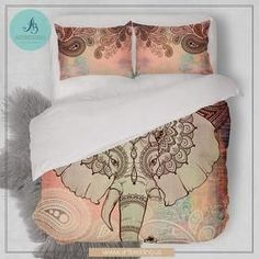 Elephant bedding, Bohemian duvet cover set, Indie Ganesh vintage bedding set, Boho elephant bedroom decor