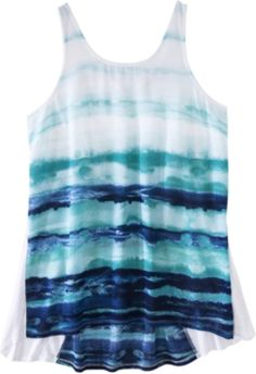 caabaf5a1a6308 Mossimo Women s High Low Printed Tank - White Blue - XS