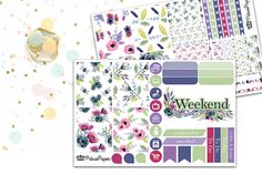 Planner Sticker Weekly Kit Floral Watercolor for your Erin Condren Life Planner…
