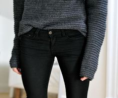 rib knit sweater and a good pair of black jeans.