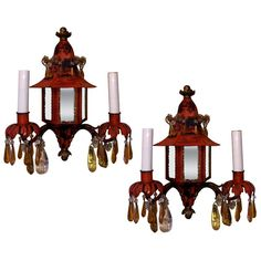 Pair of century French Napoleon III chinoiserie style tole sconces withpagoda form and original crystals. Wall Sconce Lighting, Candle Sconces, Wall Sconces, Antique Furniture, Modern Furniture, French Walls, Modern Wall Lights, Oriental Design