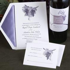 Cork wine themed letterpress wedding invitation from the Plum ...