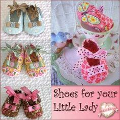 """Quilted Baby Shoes: The Quilted Baby Shoes pattern includes instructions to make these precious baby shoes fitting babies 3-9 months. Longest shoe size is 4 1/2"""" long. Your little one will be the talk of the town wearing these darling shoes you'll cherish long after she outgrows them."""