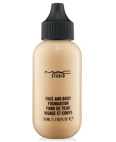 MAC Studio Face and Body Foundation - Macy's- It provides a low-medium coverage in a natural satin finish. The great thing about it is that it's made to build-up, so you can apply a single coat for a natural day-time look, and apply more coats if needed for a night out. Skin conditioning, water-resistant and long-wearing