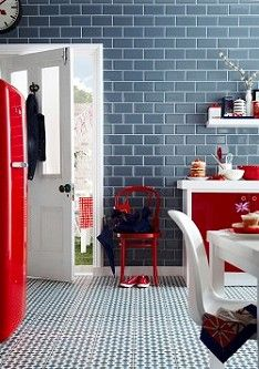 Don't be afraid to mix bold colour and pattern. Beautiful Kitchens loves this eye-catching combination of vivid red accessories and modern Victorian flooring, Henley Cool, by Topps Tiles. Grey Home Decor, Home Decor Kitchen, Kitchen Ideas, Kitchen Tile, Kitchen Designs, Kitchen Colour Schemes, Kitchen Colors, Beddinge, Topps Tiles