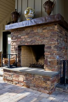 Pool house with outdoor fireplace - traditional - exterior - san francisco - Bill Fry Construction - Wm. Wood Mantle Fireplace, Fireplace Facing, Brick Fireplaces, Fireplace Ideas, Traditional Exterior, Traditional Landscape, Modern Farmhouse Design, Farmhouse Style, Patio Flooring
