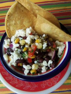 Black Bean, Cactus and Corn Salsa with Queso Fresco