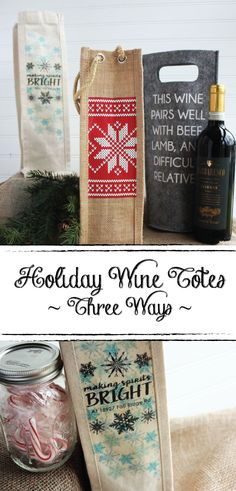 Three easy and adorable DIY wine tote tutorials for every style! Makes for the perfect hostess gift all season long!