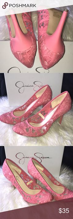 Coral Rogue Jessica Simpson Heels Beautiful and fun coral Jessica Simpson heels.  Worn once or twice, in good condition.  Box included Jessica Simpson Shoes Heels