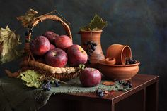 Beautifully composed autumn fruit still life. #still_life #apples #fruit #grapes #food #fall #autumn #pottery