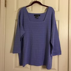 Dialogue lavender sweater This is a beautiful lavender sweater. The color came out a little bit darker in the pictures. It looks lavender also could be called PerriWinkle. Very nice. Excellent condition. Dialogue Sweaters