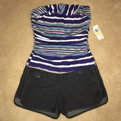 Colorful navy/purple/green/white striped romper Strapless romper by Jolt has a colorfully striped top and denim bottom, giving the illusion of shorts & a top. Stripes are navy, green, magenta, and white. Size is medium, fit is small. NWT Jolt Dresses Strapless