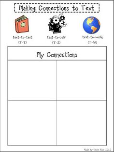 Rios Teaches: Making Connections to Text Freebie Kindergarten Reading, Teaching Reading, Guided Reading, Teaching Ideas, Readers Workshop, Writing Workshop, Graphic Organizer For Reading, Graphic Organizers, Making Connections Activities